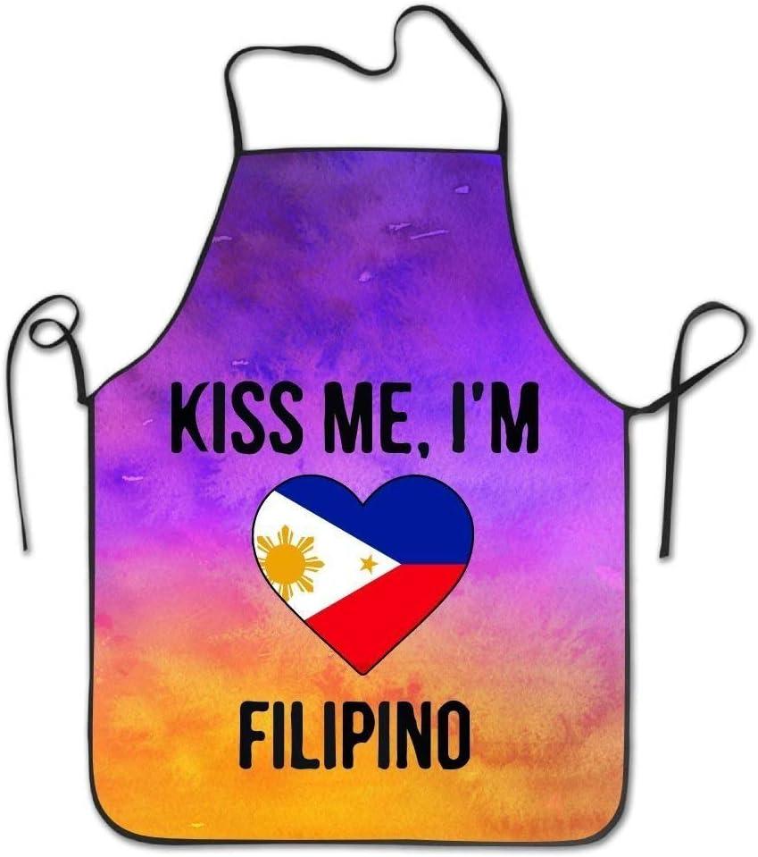 Le Restaurant la p/âtisserie RIPO Kiss Me Im Filipino Tablier /à bavette Unisexe Durable Confortable Lavable pour la Cuisine