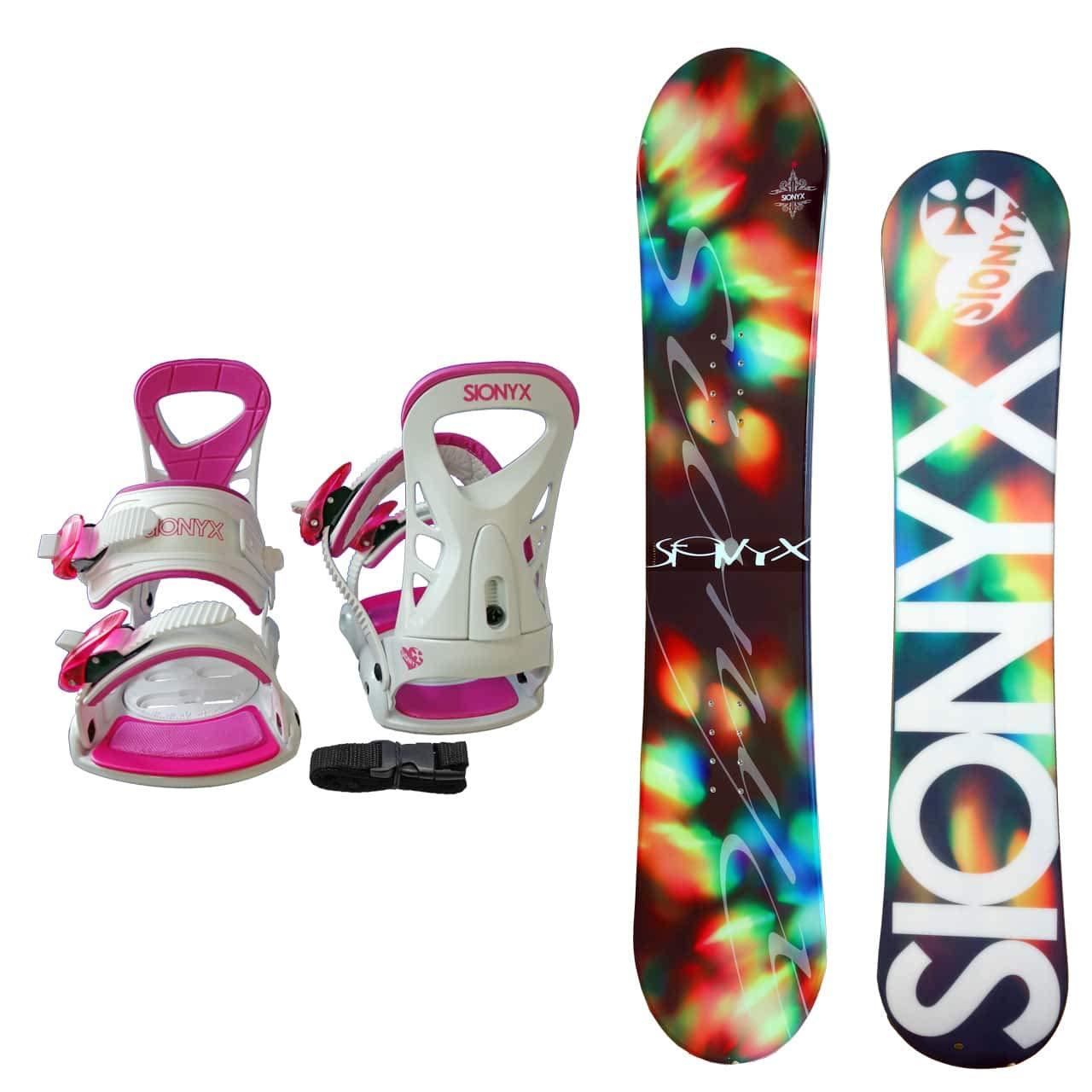 SIONYX レディース スノーボード2点セット スノボー+バインディング BELLA B07JJYDL7X ボード 144|ボード ブラック+binding ホワイト ボード ブラック+binding ホワイト ボード 144