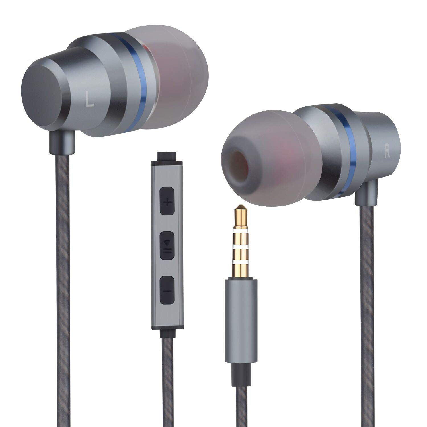 Earbuds Headphones with Microphone Mic Stereo Volume Control Wired Earphones in-Ear Noise-Isolating Ear Buds Compatible iPhone iPod iPad Samsung Android Galaxy LG HTC Tablet Laptop 3.5mm Audio
