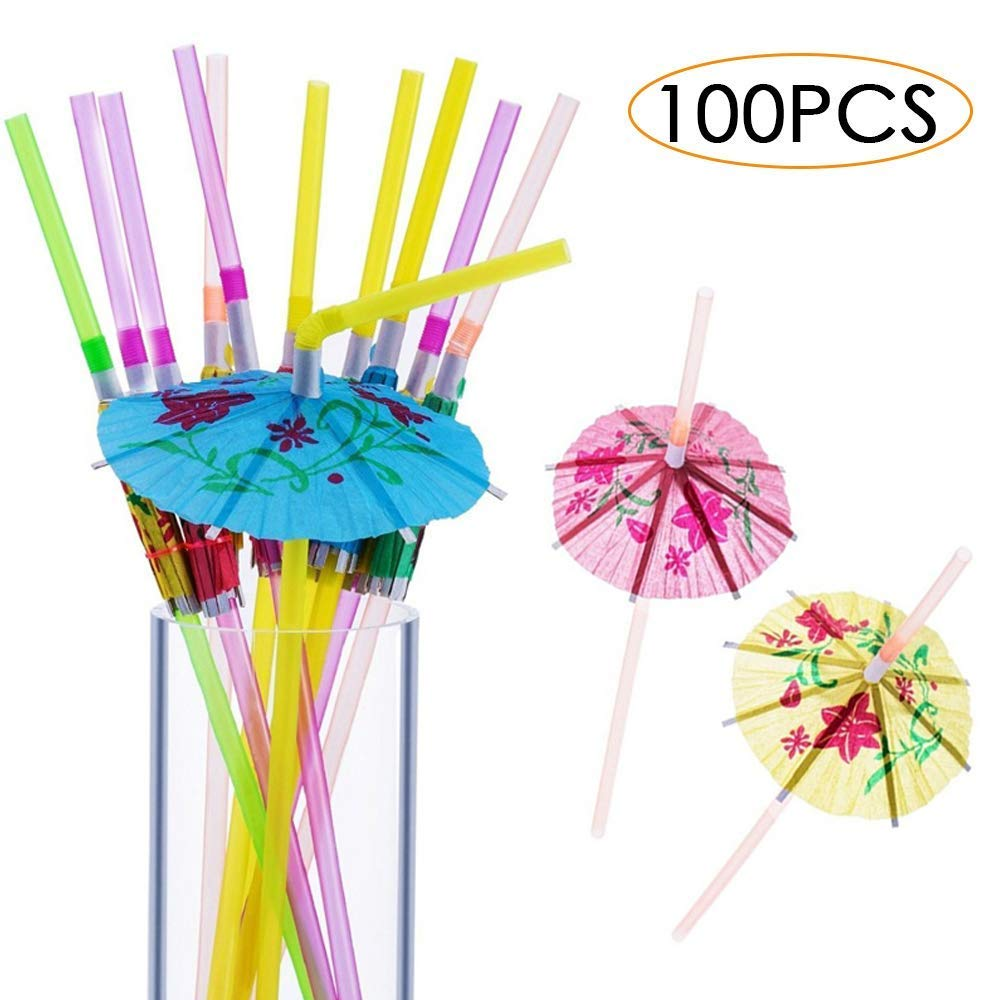 Cocktail Luau Party Decorations Supplies Bars 100 Pieces Umbrella Parasol Drinking Straws Mixed Color Disposable Bendable Tropical Drinking Straws for Hawaii Beach Party Restaurants