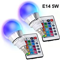 E14 Colour Changing LED Light Bulb 5W RGBW Dimmable 16 Colour Choices for Mood Lighting Home Decoration Bar Party KTV Stage Effect Lights Bulbs [2 Pack]