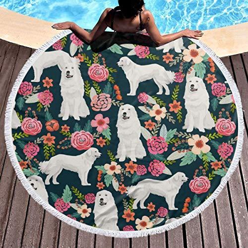 - SLADDD2 Thick Round Beach Towel Blanket - Great Pyrenees Dog Large Circle Circular Mat