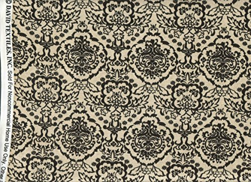 - David Textiles Fabric ~ Cream Black Toile Damask Fabric ~HALF YARD!!~ DT-4389-4C ~ Jacquard Quilt Fabric 100% Cotton 45