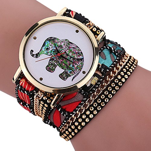 Women Elephant Watches COOKI Clearance Ladies Watches Female Watches on Sale Cheap Leather Watches-Q11 (Black)
