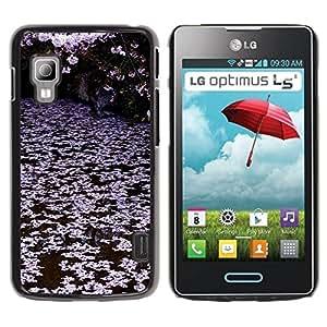 rígido protector delgado Shell Prima Delgada Casa Carcasa Funda Case Bandera Cover Armor para LG Optimus L5 II Dual E455 E460 /Trees Lake Pink White/ STRONG