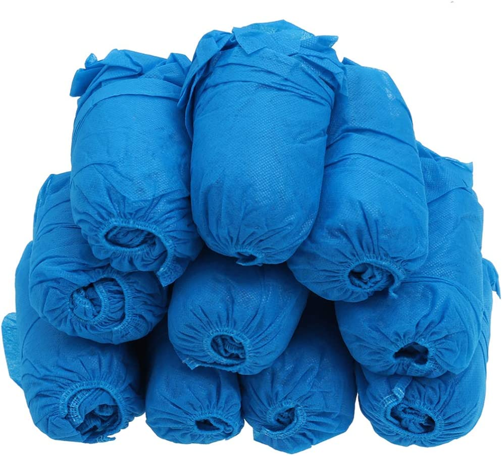 BESPORTBLE 200Pcs Cubre Zapatas Desechables Cubrebotas Impermeables Antideslizantes para Trabajos de Construcción Médica (Azul)