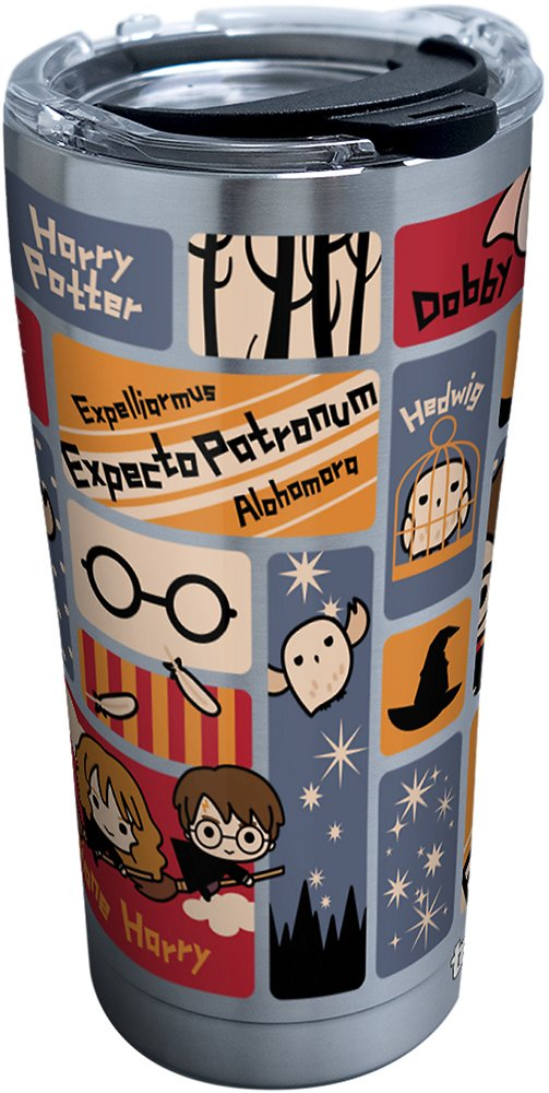 Tervis 1293207 Harry Potter-Charms Tiles Stainless Steel Insulated Tumbler with Clear and Black Hammer Lid, 20 oz, Silver