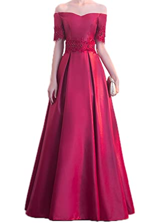 Indiefit Womens V Neck Off Shoulder Satin A Line Applique Beaded Evening Dress Ball Gown Burgundy