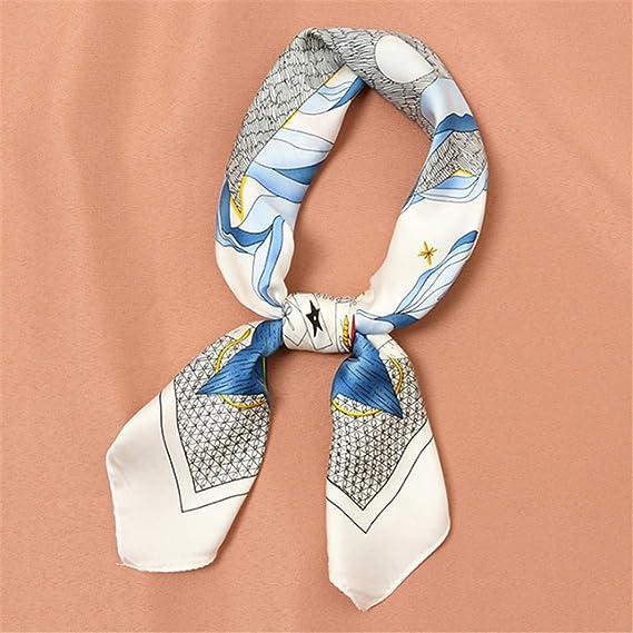AFHT-mujeres bufanda de seda cuadrada de impresión de satén ...