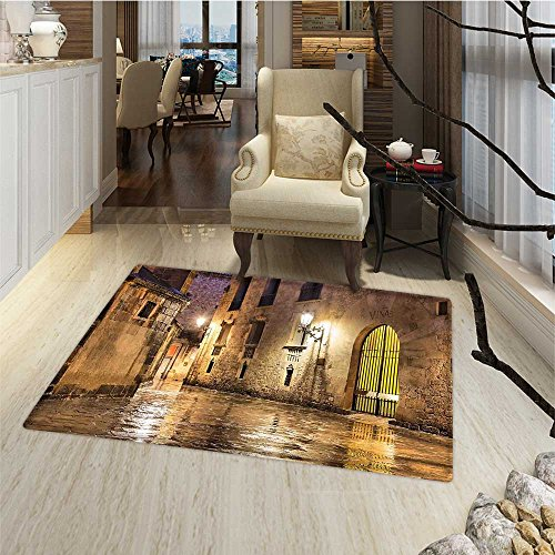 Gothic Door Mats for home Gothic Ancient Stone Quarter of Barcelona Spain Renaissance Heritage Night Street Photo Bathroom Mat for tub Non Slip 20''x32'' Cream by Anmaseven