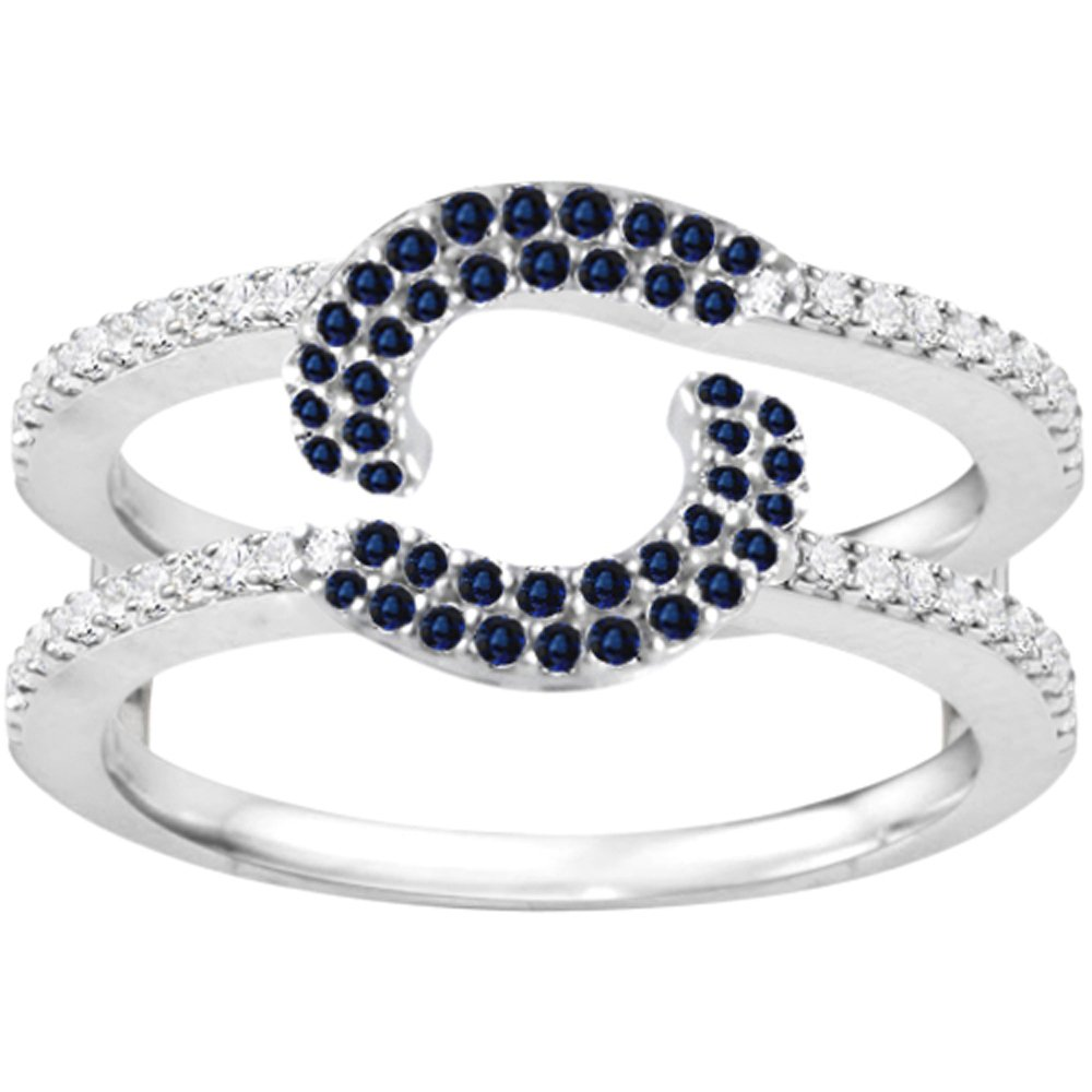 Silver Total Halo Wrap Guard Enhancer with Diamonds and Sapphire (0.37 ct. twt.)