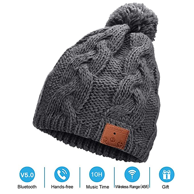 ebc72492f66 Amazon.com  NERAON Newest Bluetooth 5.0 Wireless Bluetooth Beanie ...