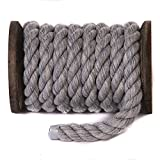 FMS Natural Twisted Cotton Rope by Ravenox | (Grey)(3/8 Inch x 25 Feet) | Order by the Foot, Diameter & Color - Strong Triple-Strand Rope for Outdoor Sports, Pets, Crafts & General Use
