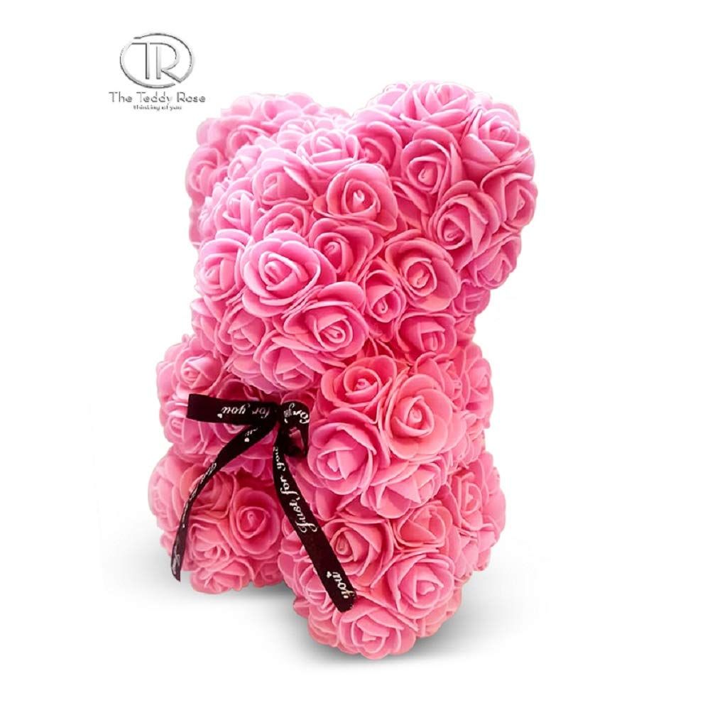 silk flower arrangements the teddy rose flower rose bear - cute 10-inch teddybear handmade with flower petals - artificial roses decor for valentine's, graduation, mother's day, christmas, anniversary (pink)
