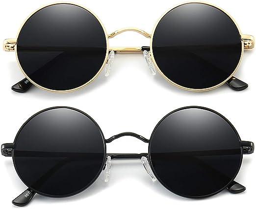 CLASSIC 60/'s VINTAGE RETRO Style SUN GLASSES Black Gold Frame Blue /& Yellow Lens