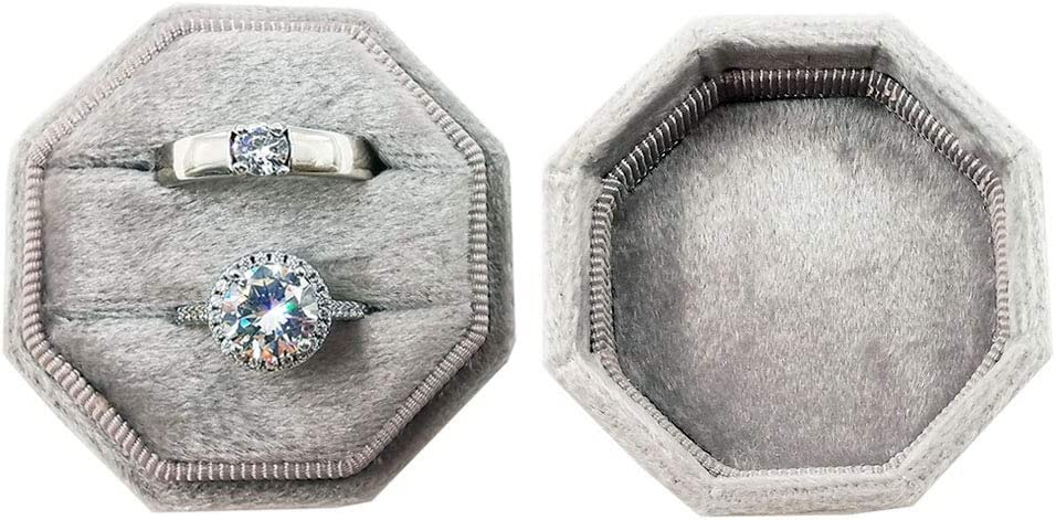 Beatilog Velvet Ring Bearer Box Photography Octagon Double Proposal Ring Display//Vintage Handmade Wedding Ring Holder//Jewelry Storage Gift Case for Engagement Christmas Aqua Birthday