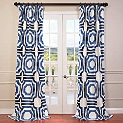 Half Price Drapes PRTW-D23B-96 Mecca Printed Cotton Curtain, 50 x 96, Blue