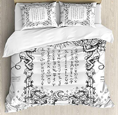 King Size Occult 4 Piece Bedding Set Duvet Cover Set, Gothic Medieval Magic  and Spell Symbols Eternal Life Ritual Chart Themed Artwork, Comforter