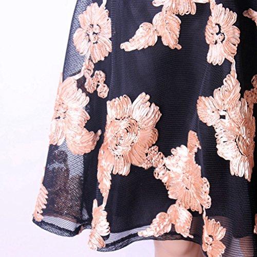 Weyeei Mujer Floral Bordado Falda Corte Imperio Partido Trapecio Midi Faldas Dorado