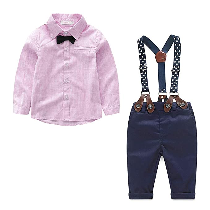 b05066709a890 Baby Boy Clothes Outfits Sets Autumn Newborn Infant Clothing Gentleman Suit  Suspender Trousers+Top+Bow Tie 3pcs 0-4 Years  Amazon.co.uk  Clothing