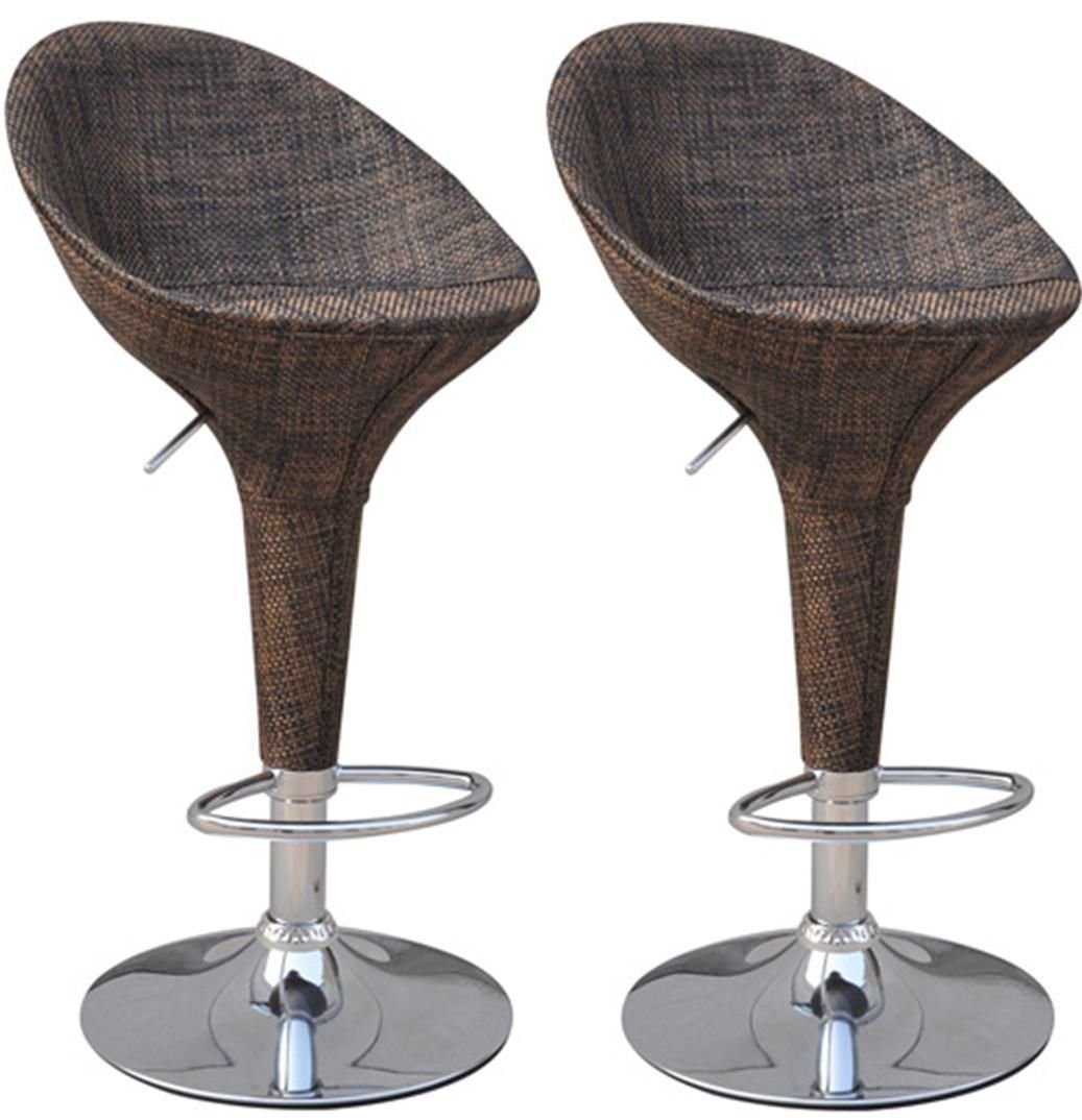 HOMCOM Adjustable Set of 2 Chrome Finish Swivel Seat Pub Bar Stools Rattan Wicker Chair Deep Brown (Model 2) Aosom Canada