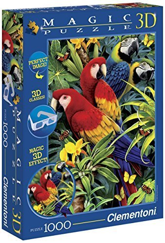 Clementoni 39188.2 Puzzle Magic 3D with Glasses Majestic Macaws 1000 Pieces by Clementoni