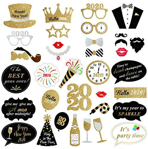 SWYOUN 37PCS Glitter 2020 Happy New Years Eve Party Photo Booth Props Supplies Larger Size For Adult