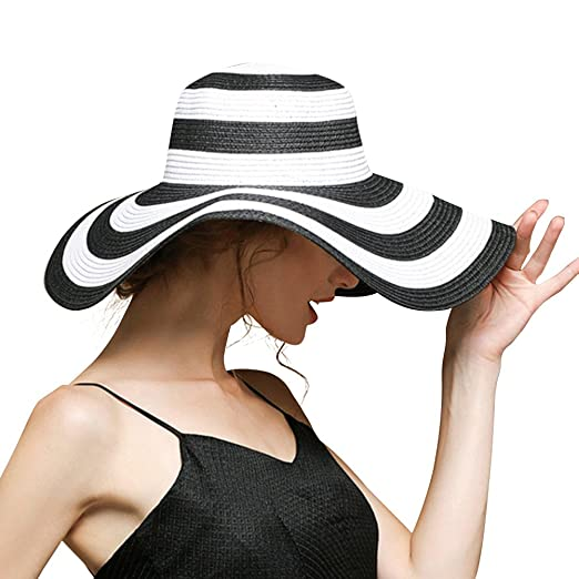 Beach Hats For Women Floppy Sun Stripes Woven Elegant Hats UPF 50+ White  Black ( 440e7fc2fd9