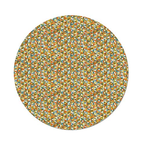 Retro Oilcloth - iPrint Polyester Round Tablecloth,Abstract,Flower Life Design Vintage Colors Oval Shapes Lines Geometrical Retro Pattern Decorative,Multicolor,Dining Room Kitchen Picnic Table Cloth Cover Outdoor Ind