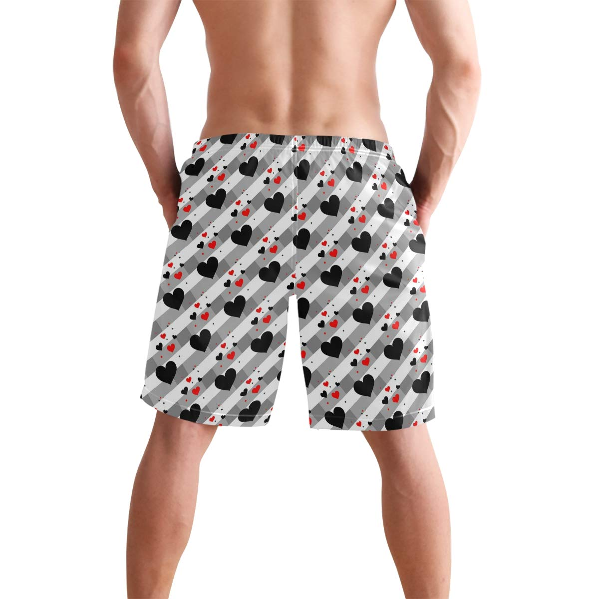 Red and Black Heart Pattern Mens Fashion Casual Classic Beach Shorts Quick-Dry Gym Adjustable Drawstring Shorts Yoga