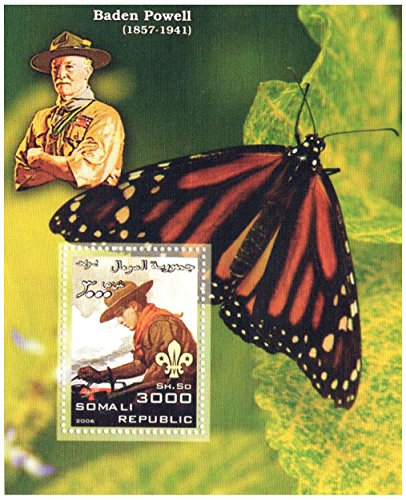 Butterfly souvenir sheet celebrating Baden Powell the founder of the Scout Movement / 1 stamp 3000 Somali Shilling / Somalia / 2006 (Butterflies Souvenir Sheet)