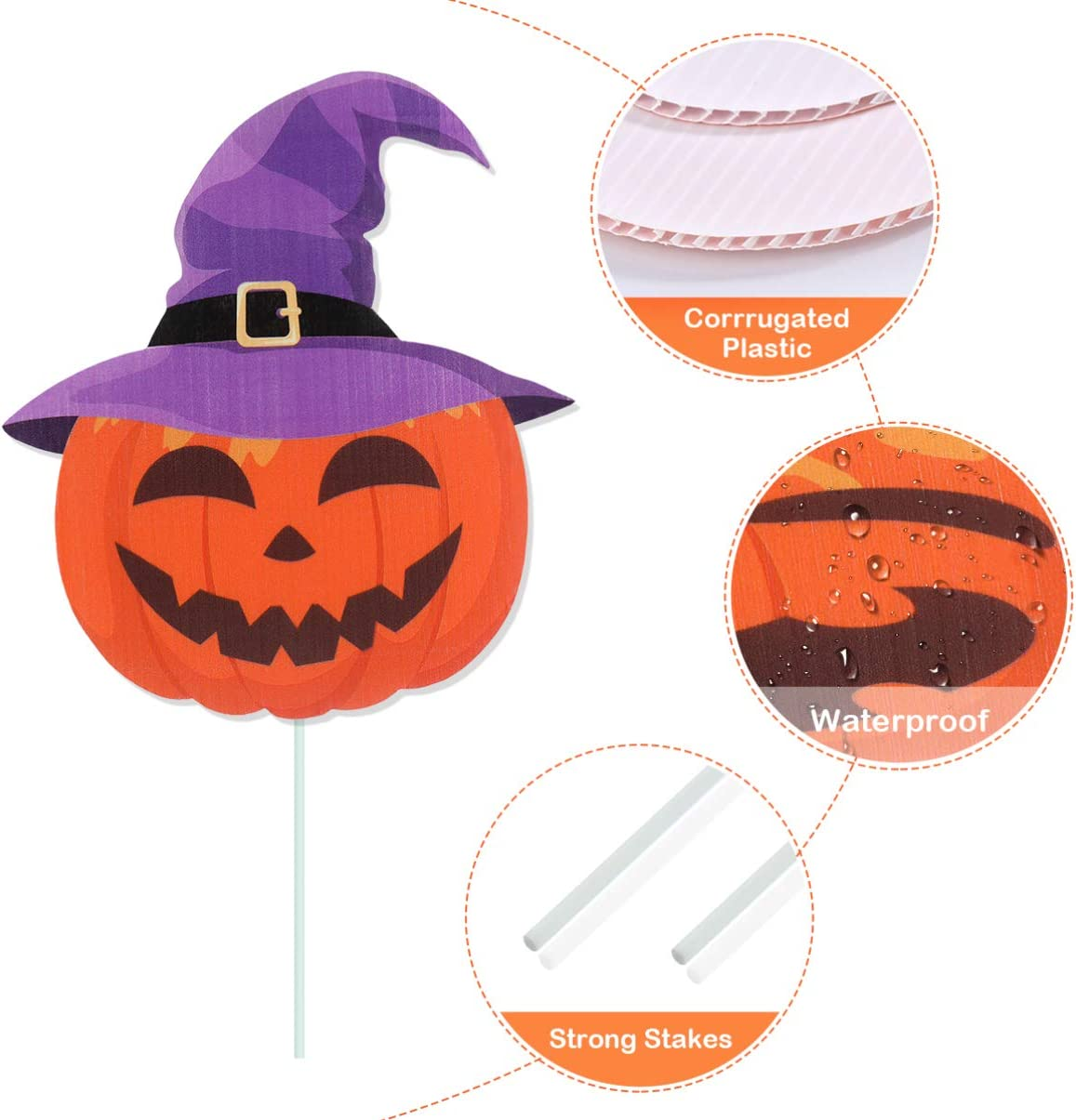 Halloween Decorations Outdoor, Extra Large Pumpkins Ghost Yard Signs with Stake, Halloween Trick or Treating Party Prop 8pcs