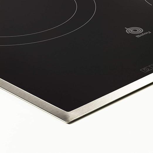 Balay 3EB714XR - Placa de cocina vitrocerámica de 60 cm de ancho, marco de acero inoxidable, 3 zonas de cocción, control táctil, color negro