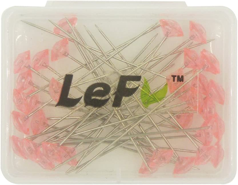 LEFV/™ Quilting Pins Artificial Diamond Head Sewing Pins,Pack of 30,Hot Pink