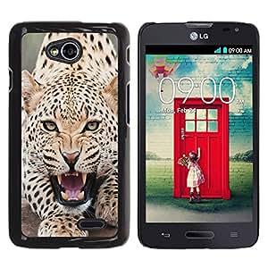 Be Good Phone Accessory // Dura Cáscara cubierta Protectora Caso Carcasa Funda de Protección para LG Optimus L70 / LS620 / D325 / MS323 // Leopard Angry Roar Spots Furry Animal