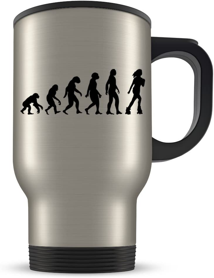 Amazon Com Roller Skate Travel Mug For Women Roller Derby Coffee Cup For Skating Enthusiasts Best Rollerskate Gift Idea Funny Evolution Gifts Kitchen Dining