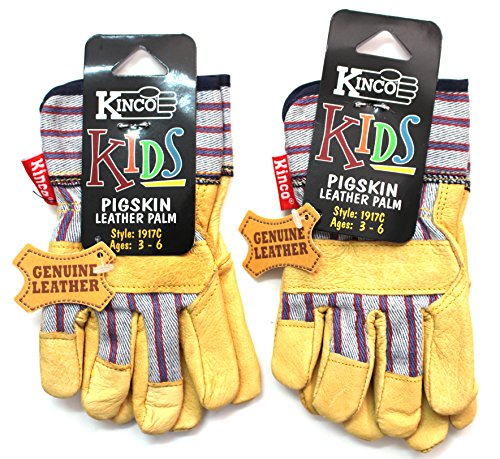 Construction Barrel Costume (Kinco Kid's Leather Work Gloves (2-Pack) Ages 3-6)