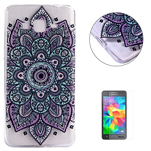Painting Violet (Galaxy Grand Prime G530 Case Clear,[Free Screen Protector] KaseHom Premium Soft Silicone TPU Gel Cover Oil Painting Anti-scratch Bumper Rubber Shell for Galaxy Grand Prime G530,Violet Mandala)