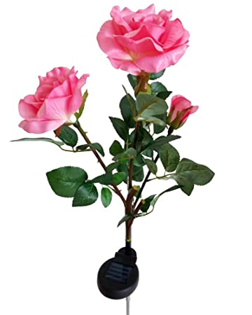 aketek outdoor solar powered 3 led rose flower light lamp stake for home garden yard lawn