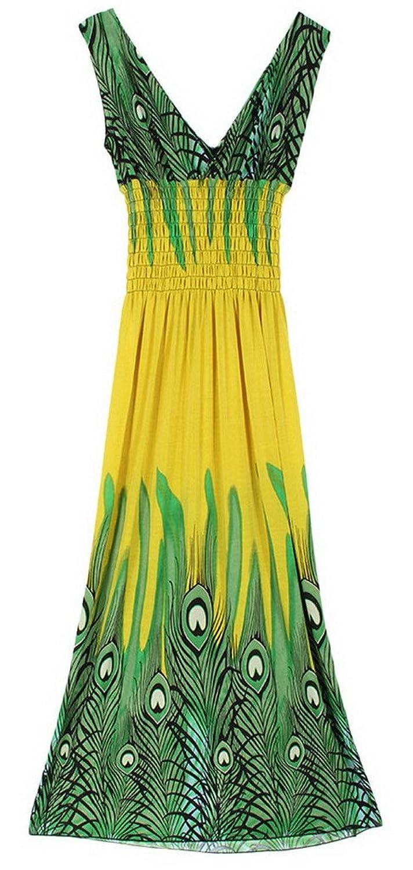 Lukis Damen Boho Kleid Maxi V-Ausschnitt Strandkleid Lang Kleider