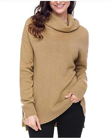 Jersey Cuello Alto Mujer Costilla Primavera Camisa Tejer Asimetria Poco Antes Largo Largo Cuello Redondo Blusa Casual Otoño Shirt Top Negro (S-XL),A,L: Amazon.es: Hogar