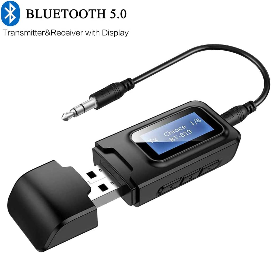 LCD Screen Display 3.5MM AUX Stereo Audio Wireless Bluetooth Receiver Adapter 3-in-1 USB Bluetooth Transmitter Receiver 5.0 for TV Computer