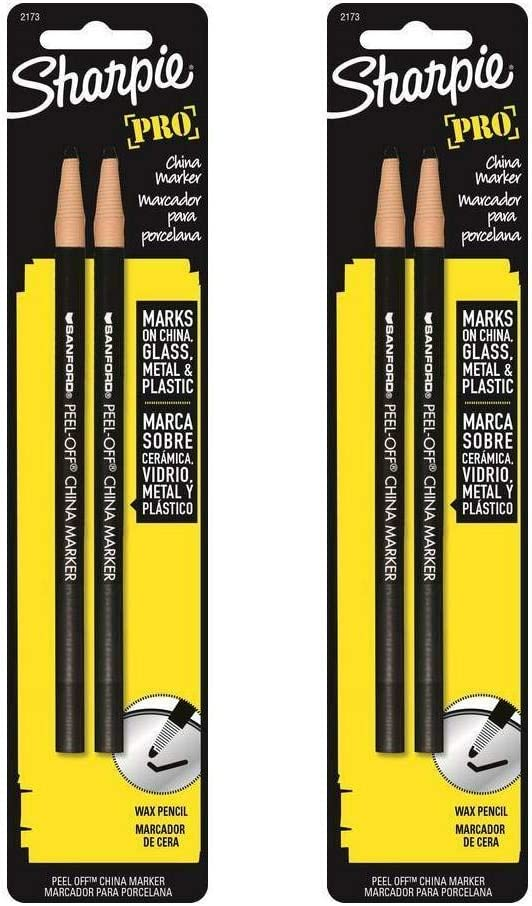 Sharpie 2173PP Peel-Off China Markers, 4 Black Markers : Office Products