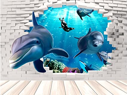 Fange DIY Removable 3D Underwater World Dolphin Art Mural Vinyl Waterproof  Wall Stickers Living Room Decor