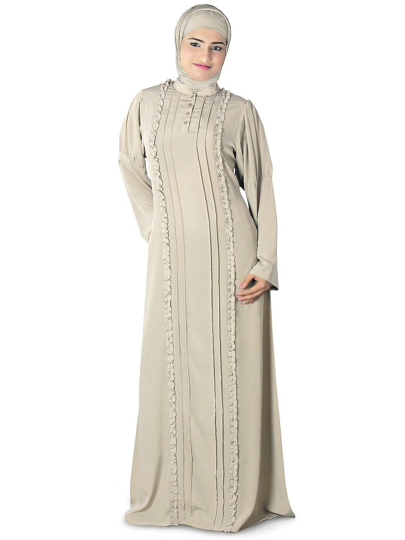 MyBatua Women's Subuhi Warm Grey Abaya Jilbab