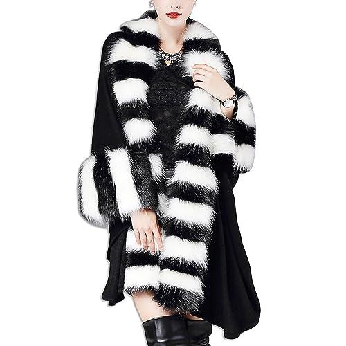 KAXIDY Mujer Chaqueta Mantón Abrigo de Piel de Imitación Ropa de Abrigo Chaquetas