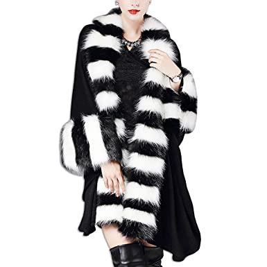 65986b196494 KAXIDY Womens Faux Fur Trim Cape Poncho Coat Jacket Parka Winter Shawl Coat  Overcoat (Black