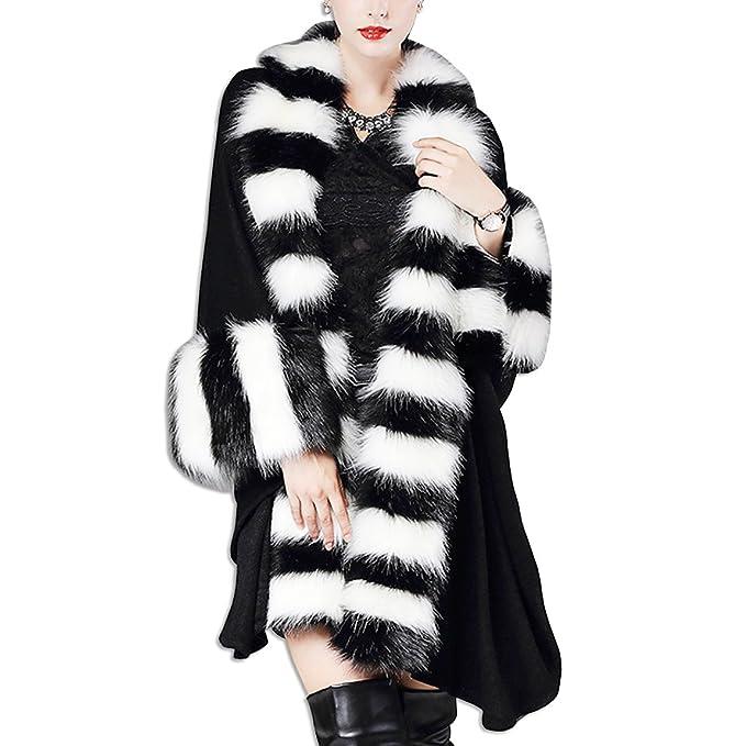 KAXIDY Mujer Chaqueta Mantón Abrigo de Piel de Imitación Ropa de Abrigo Chaquetas (Negro)