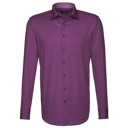 Seidensticker Herren Langarm Hemd Splendesto Regular Fit lila (pflaume) strukturiert mit Patch 187426.86