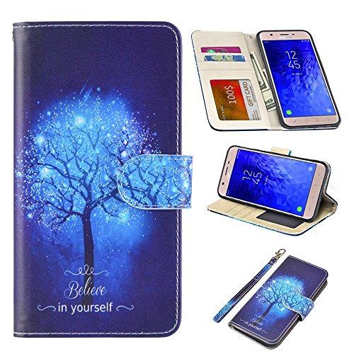 UrSpeedtekLive Samsung Galaxy J7 2018 Case, Galaxy J7 Refine/J7 Aero/J7 Aura/J7 Top/J7 Eon/J7 Star Premium PU Leather Wristlet Flip Wallet Case Cover w/Card Slots & Stand,Believe in Yourself